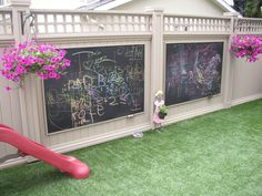 Check out these kid friendly backyard ideas! Plus, read tips on how to create a great space for your kids in the backyard. Get more backyard ideas Backyard Playground, Backyard Fences, Backyard For Kids, Backyard Landscaping, Landscaping Ideas, Kid Friendly Backyard, Child Friendly Garden, Outdoor Chalkboard, Chalkboard Walls