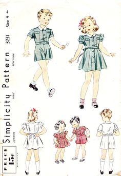 Vintage 1930s or 1940s Simplicity Pattern 3231 Brother & Sister Outfits Size 4 #Simplicity