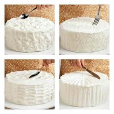 Simple ways to decorate a cake - peaks, zigzags, waves, and stripes! Use these easy tips and instructions to learn how to decorate a cake like a pro! Find helpful hints for frosting a cake, filling a pastry bag and more cake decorating tips. Cake Decorating Tips, Cookie Decorating, Cake Decorating Frosting, Cake Cookies, Cupcake Cakes, Sweets Cake, Cookie Dough Cake, Fondant Cakes, Decoration Patisserie
