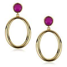 Trina Turk Athena Gold Hoop Earrings In Hot Pink