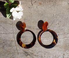1930's Tortoise Shell Hoop Earrings by StarShineVintage on Etsy