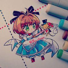 Tengo la figurita de sakura un wonderland y quise dibujarla, es muy linda…