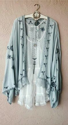 Crochet lace placket and traditional lace hem