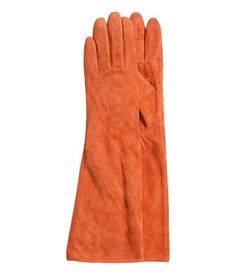 ** orange suede gloves| Product Detail | H&M GB