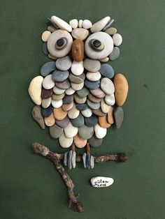 Pebble art owl by gülen More More #owl_crafts_diy