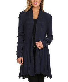 This Navy Sheer Rib Open Cardigan is great. I love the design of this cardigan!