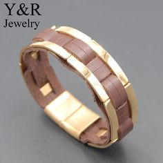 Stainless Steel 18k Gold Link Leather Bracelet Magnetic-Clasp Braided Mens Genuine Leather Bracelet