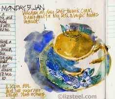 Liz Steel: More about sketching with coloured ink