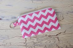Coin Purse-Small Flat Zippered Pouch with Key Chain Hoop on Etsy, $6.00