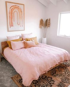 Ellie Bullen has styled our Wildflower Pink and Mustard French Linen in her beautiful blush home. Ellie Bullen has styled our Wildflower Pink and Mustard French Linen in her beautiful blush home. Dream Bedroom, Home Bedroom, Artwork For Bedroom, Bedroom Nook, Bedroom Furniture, Home Design, Home Interior, Interior Design, Luxury Interior