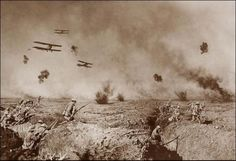 This picture is actually a composite of 12 photos. Official photographer for the Australian army, Frank Hurley stated that his heroic images of Australian soldiers in World War I were accurate, despite their contrived production. On the New South Wales State Library website, you can see how Hurley composited his most famous image.