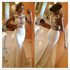 Hot Selling Vestido De Festa Longo White Satin Crew Neckline See Through Lace Appliques Celebrity Inspired Evening Prom Gowns $119.00