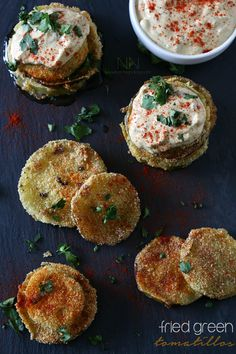 Fried green tomatillos with guacamole sauce. Happy National Guacamole Day!