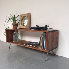 Stanton Record Player Stand / LP/ Vinyl Storage Cabinet / Console Coffee Table on Mid Century Hairpin Legs by DerelictDesign on Etsy https://www.etsy.com/listing/246315105/stanton-record-player-stand-lp-vinyl