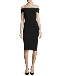 Maquette+Off-the-Shoulder+Jersey+Sheath+Dress,+Black+by+Lafayette+148+New+York+at+Neiman+Marcus.
