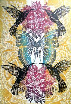 Humming Bird Lino print by Mangle Prints- Amanda Colville Illustration Arte, Expo, Gravure, Art Plastique, Printmaking, Screen Printing, Decoupage, Print Patterns, Art Photography