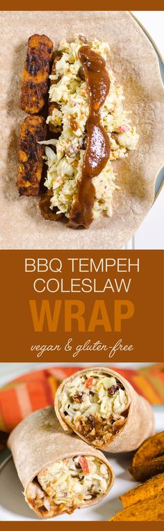 Vegan BBQ Tempeh Coleslaw Wrap - you can prepare this sandwich recipe in less…