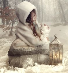 """""""I love little pussy her coat is so warm,  And if I don't hurt her she'll do my no harm.  I'll not pull her tail or drive her away,  And pussy and I will be friends every day."""