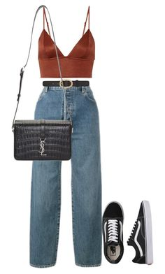"""""""Untitled #4412"""" by ericacavaco12 ❤ liked on Polyvore featuring Vans, Levi's, Fleur du Mal, A.P.C. and Yves Saint Laurent"""