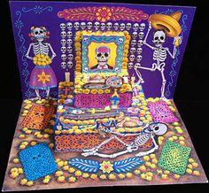 altar de muertos card with couples