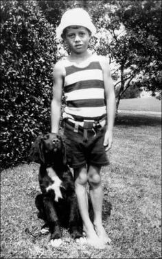 John F. Kennedy, with dog named Bobby (!), at Hyannisport 1925 (Kennedy Family Collection, John F. Kennedy Library)