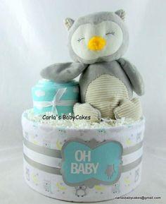 Owl diaper cake Neutral diaper cake Baby sprinkle gift Baby