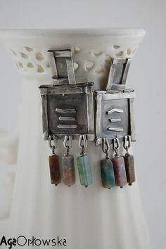 #earrings - silver and jasper