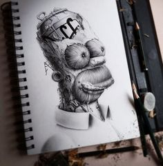 Distroy: Illustrations by PEZ Artwork Nice graphite illustrations of well-known cartoon characters that have been dest. Cartoon Pencil Drawing, Drawing Cartoon Characters, Character Drawing, Cartoon Drawings, Pencil Drawings, Art Drawings, Iconic Characters, Drawing Art, Pencil Art