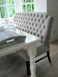 Tufted Dining Bench With Back Linen High In Graphite Pertaining To