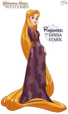 les princesses disney en personnages game of thrones raiponce sansa stark   Les princesses Disney en personnages Game of Thrones   trone de ...