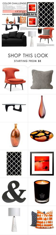 """Color Challenge: Orange and Black"" by mrsjillc ❤ liked on Polyvore featuring interior, interiors, interior design, home, home decor, interior decorating, BoConcept, Homage, Design Within Reach and Cyan Design"