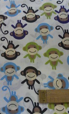 Plátno bavlněné potisk Opičky, cena za 0,5 m