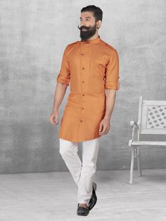 Plain Orange Color Linen Kurta Suit, mens kurta suits, mens kurta designs, mens kurta pyjama, mens linen kurta, mens kurta designs, mens indian fashion,