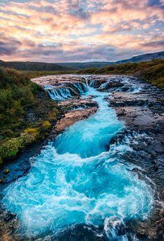 South, South, Iceland Bruarfoss Sunset