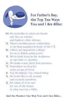 Top 10 List from Dog Greeting Card - Father's Day Printable Card | American Greetings