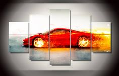 A flaming Ferrari. An awesome picture for any Ferrari-fan.Accessories needed for wall-attachement are provided with all of our canvas-products. Car Painting, Hot Rods, Ferrari, Summer Sale, Prints, Paintings, Free Shipping, Cars, Google Search