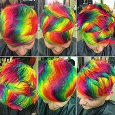 This dramatic haircolor incorporates all the colors of the rainbow, and more! This look created by Haircolorist Ursula Goff recently went viral on her Instagram page @Uggoff – and you can see why. Goff colored her client Haley's hair using Manic Panic, Pravana and Joico color. She placed the color on the hair so that her spunky pixie could be styled in numerous ways! You can even see in the slideshow how the look faded over several weeks to pastel colors.