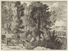 Anonymous | Landschap met wasvrouwen, Anonymous, Herman van Swanevelt, Nicolaes Visscher (I), 1633 - 1679 | Een man en een vrouw lopen op een pad voor een kerk in een bergachtig landschap. In de rivier naast het pad drenkt een man zijn ezel en doen twee vrouwen de was.