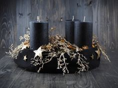 dekoration adventskranz holz Your place to buy and sell all things handmade Christmas Advent Wreath, Pink Christmas Decorations, Holiday Wreaths, Christmas Crafts, Black Christmas, Modern Christmas, Christmas Time, Deco Table Noel, Candle Holder Decor