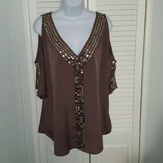Bling Blouse This deep tan blouse as so much BLING! I wore this to a wedding with a pencil skirt and it was gorgeous! Moda International Tops Tunics