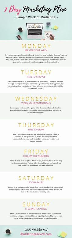 Media Plan Sample Elegant This Free 7 Day Marketing Plan & Template Will Help You Focus On the Affiliate Marketing, E-mail Marketing, Digital Marketing Strategy, Business Marketing, Social Media Marketing, Online Marketing, Content Marketing, Mobile Marketing, Marketing Strategies