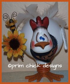 CORNFLAKE rooster chicken recycled light bulb instant download pdf prim chick acrylic painting pattern 782