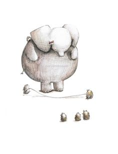 Eloise+Elephant+and+Hedgehogs Jumping Rope by+maryandmaudestudio