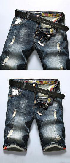 Worn Out Jean for Men: Light Blue / Knee Length / Loose & Straight / Denim