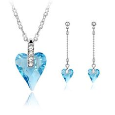 Fashion Luxury Crystal Necklace Set bed of roses (sea blue)