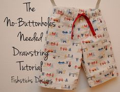 The No-Buttonholes-Needed Drawstring Tutorial || Fishsticks Designs Blog #shorts #tutorial