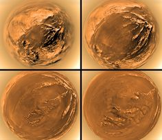 Delivered by Saturn-bound Cassini, ESA's Huygens probe touched down on the ringed planet's largest moon Titan, ten years ago on January 14, 2005. These panels show fisheye images made during its slow descent by parachute through Titan's dense atmosphere.