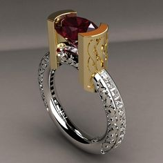 Gorgeous Red Zircon and Diamond Ring by Greg Neeley Designs