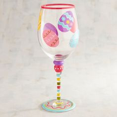 Just love this Easter egg hand painted wine glass. So festive. Wine Bottle Art, Painted Wine Bottles, Painted Wine Glasses, Paint Bottles, Decorated Bottles, Beer Bottle, Wine Glass Crafts, Wine Bottle Crafts, Unique Wine Glasses