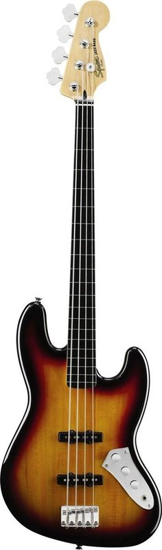 """Squier's Vintage Modified Jazz Bass Fretless fuses the slippery sound of an upright and the sleek style of an electric, with dual Fender-designed pickups and a slim """"C""""-shaped maple neck with a vintag"""